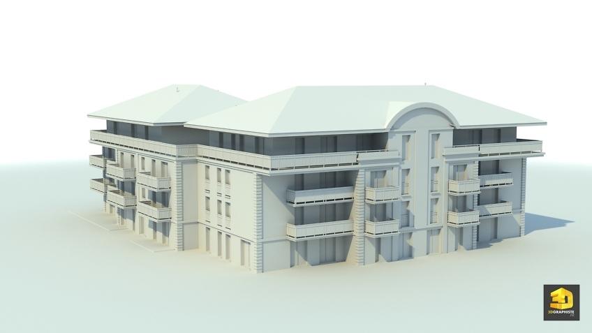 modelisation 3d architecture - résidence immeuble