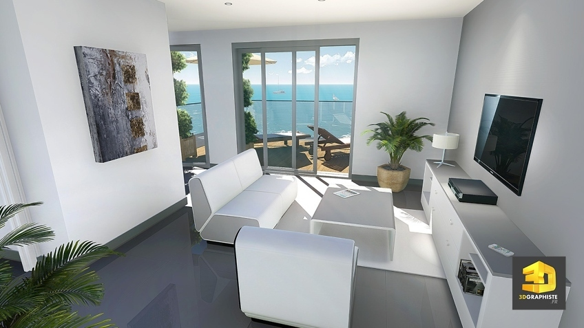 rendu 3d salon d'un appartement en Corse
