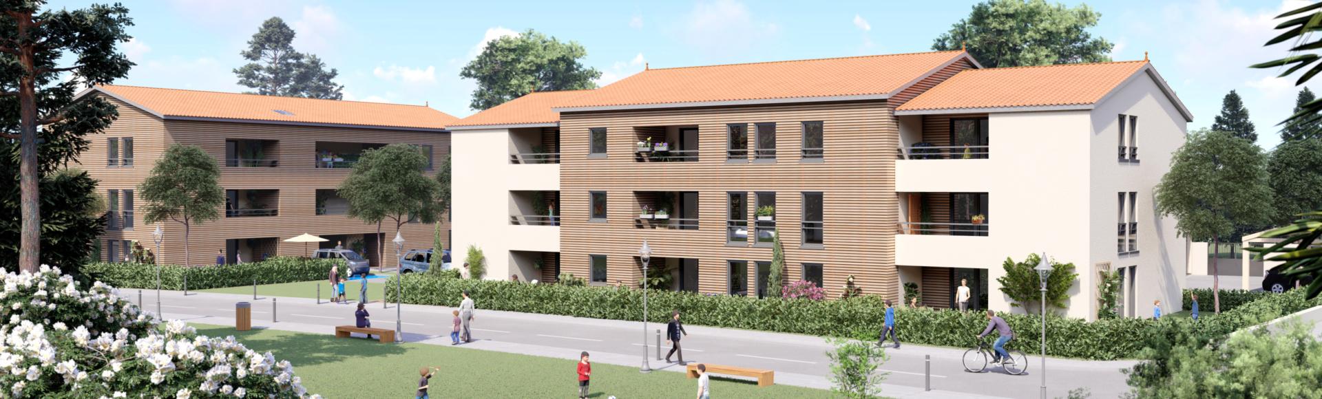 Perspective immobilière - deux immeubles de logements collectifs