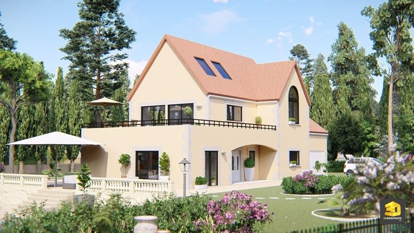 Maison et jardin méditerranéenne - architecture 3D