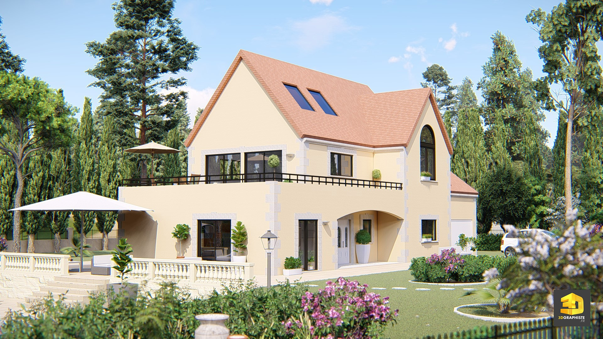 Maison plan 3d finest hd wallpapers plan d maison style for Plan de maison style americain