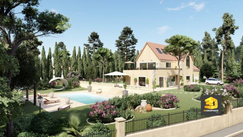 Perspective 3d d'architecture extérieure - Weser - Saint-Tropez