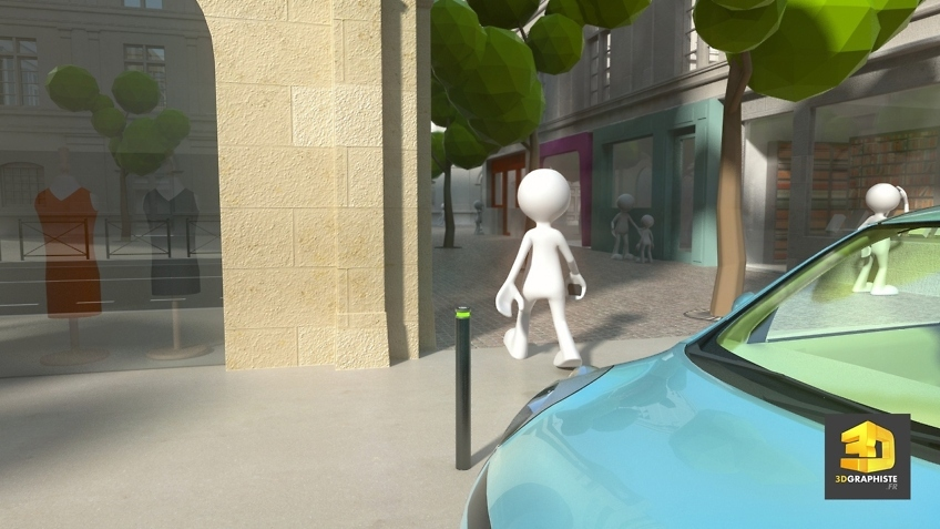 animation 3d d'un système de parking