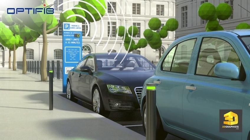 animation 3d parking stationnement parcometre