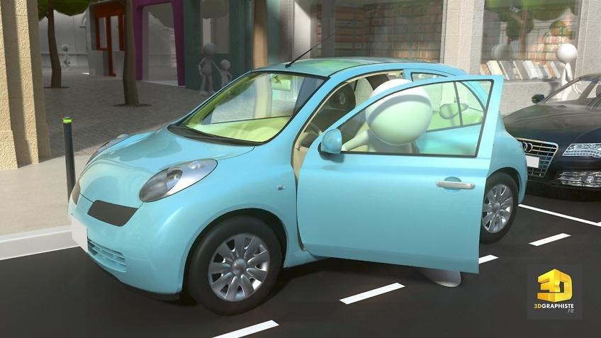 Animation 3D - personnage descend de sa voiture