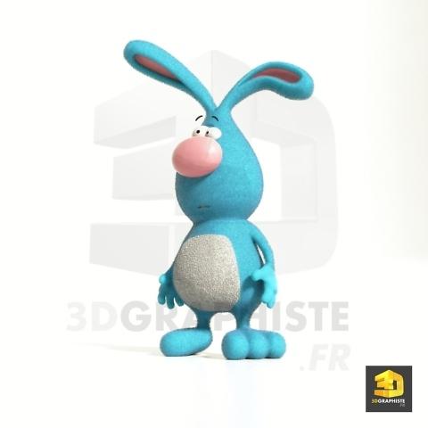 illustration 3d d'un personnage de lapin