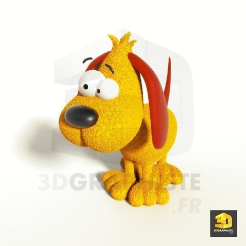 modélisation 3d chien cartoon