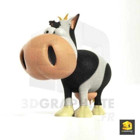 personnage 3d vache