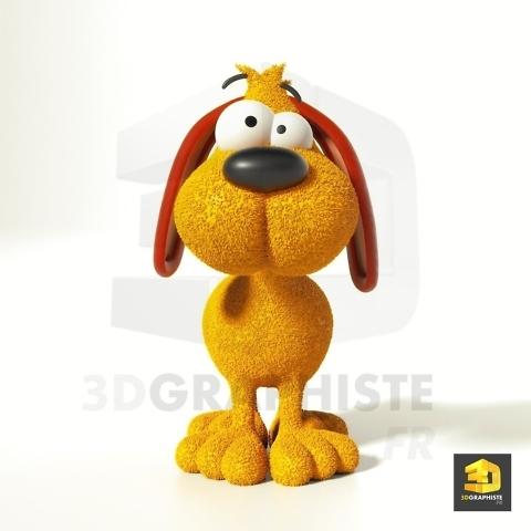 personnage chien cartoon 3D