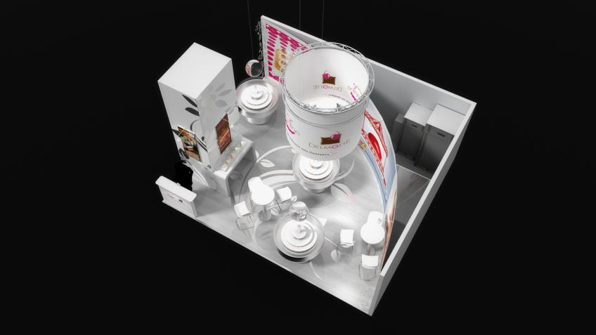 stand d'exposition de patisseries et desserts