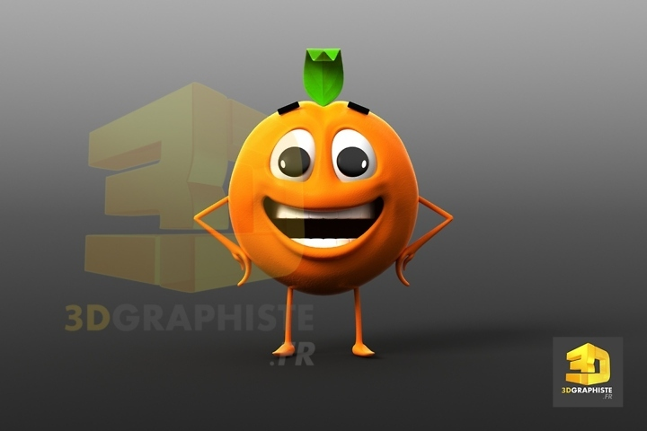 mascotte 3D orange - fruit