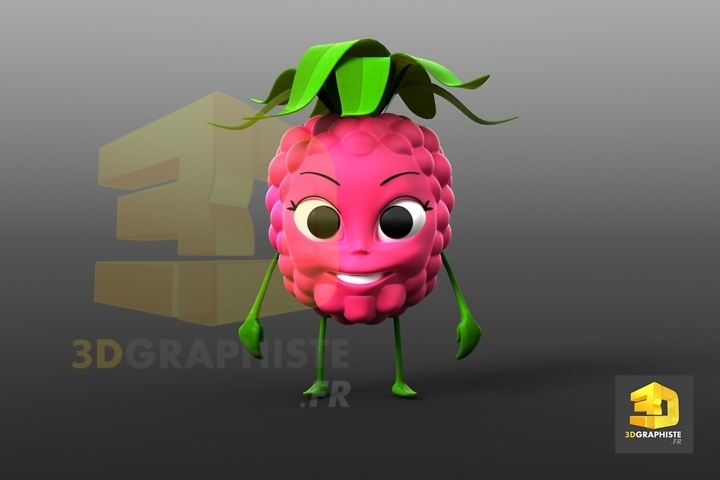 personnage 3d framboise - fruit