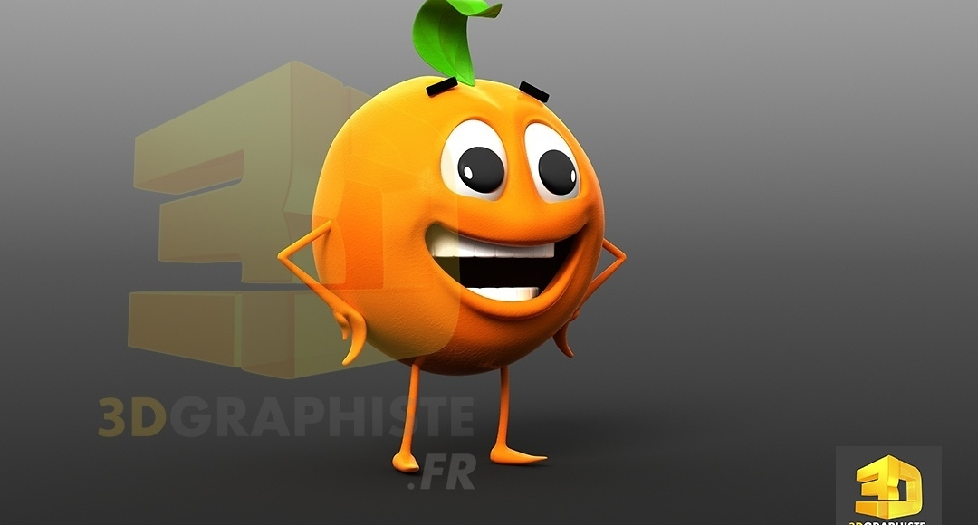 personnage 3D orange - fruit