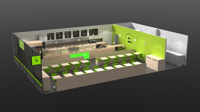 perspective 3D du restaurant green sur mesure