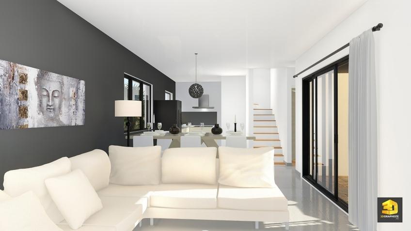 perspective 3d salon séjour - villas gabriel