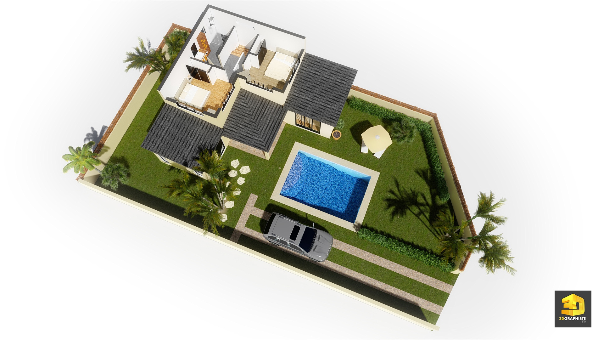 Illustrations 3d d 39 architecture villas gabriel for Plan 3d exterieur
