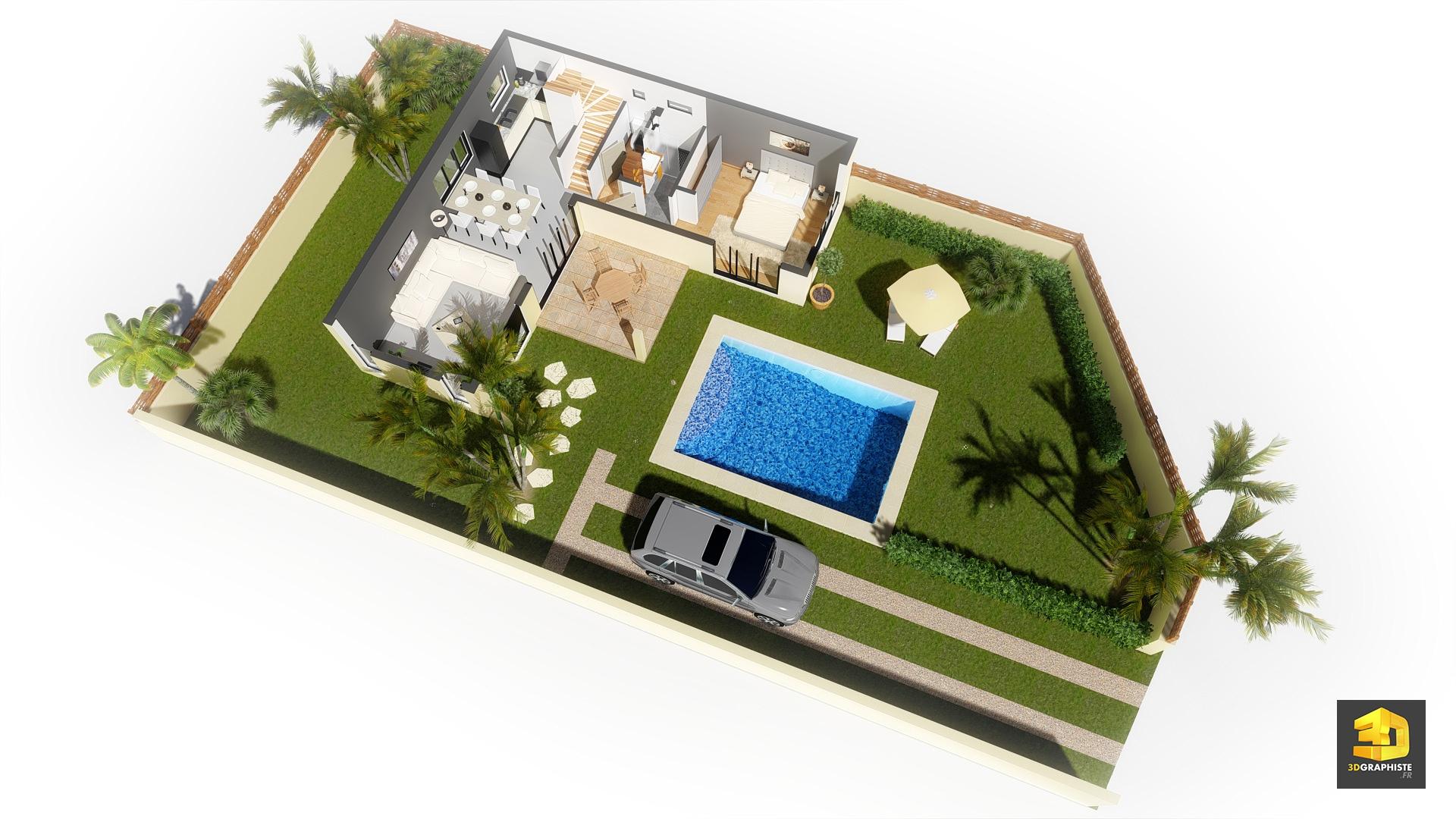 Plan de masse en infographie 3d dune des maisons avec visualisation intérieure du rez de chaussée