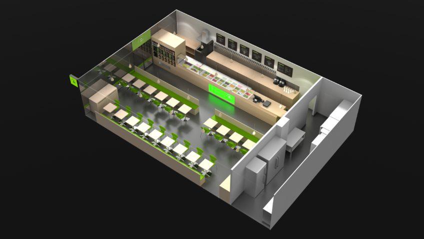 restaurant green sur mesure - modélisation 3D