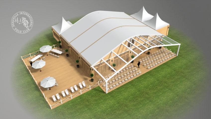 perspective 3D tente événementielle polo club