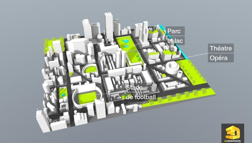 plan de ville en 3D interactive - WebGL