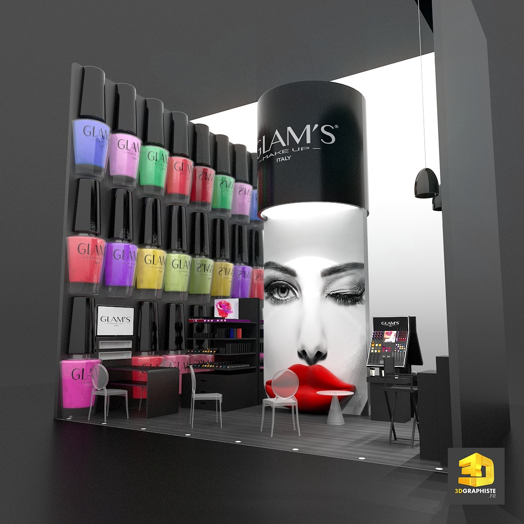 Stand cosm tiques glam 39 s make up 3dgraphiste fr for Stand salon