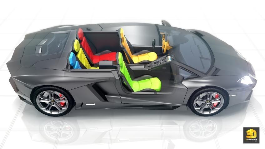 Lamborghini Aventador - modélisation 3d intérieure