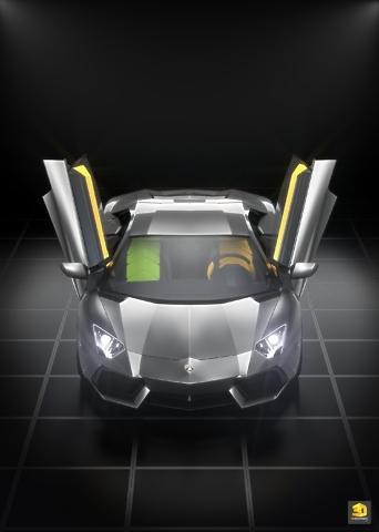 modèle 3D voiture Lamborghini Aventador