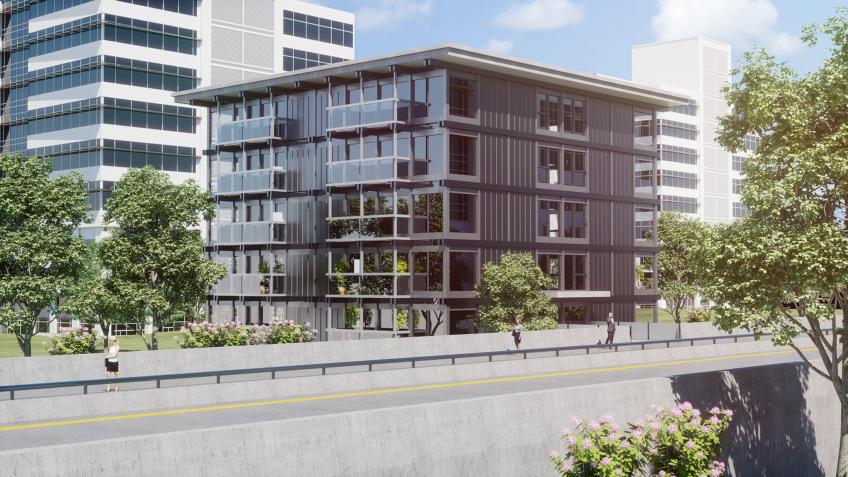 immeuble de bureaux - le-quartz - perspective 3d