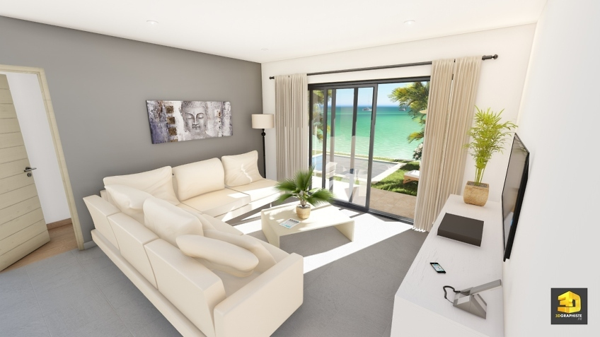 illustration 3d salon sejour - villas Domenjod