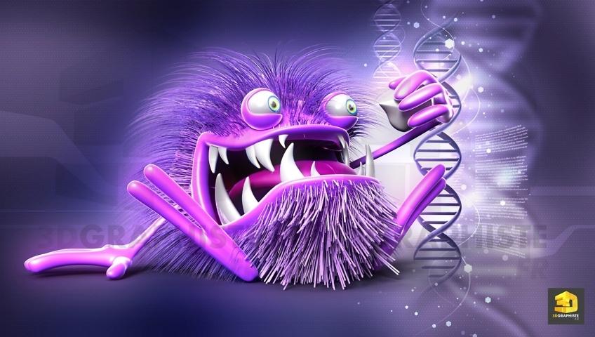 personnage 3D bactérie