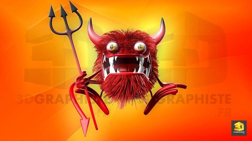 personnage 3d bactérie diable