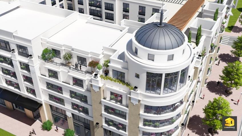 perspective 3d extérieure - résidence Palazzo