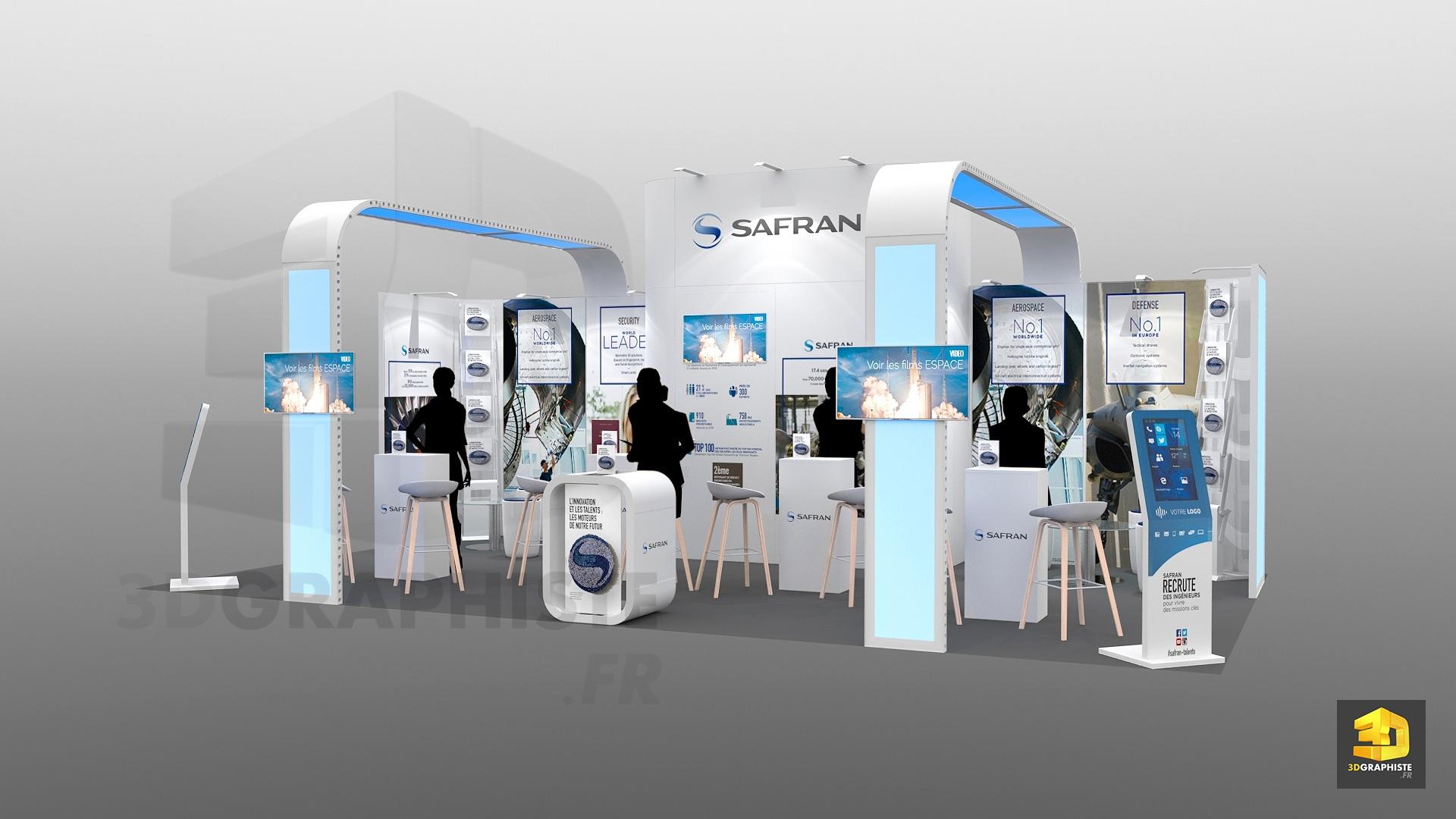 Stand modulaire safran pour salons tudiants 3dgraphiste fr for Creation de stand pour salon