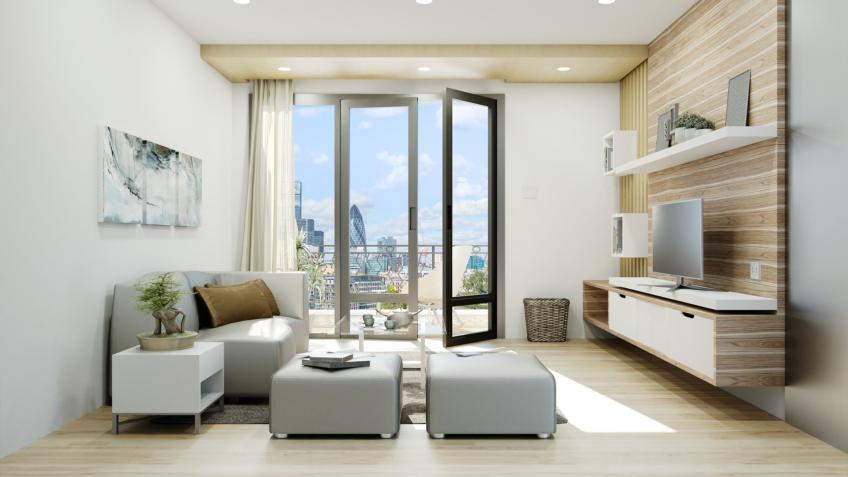 appartement Romainville séjour - perspective 3D