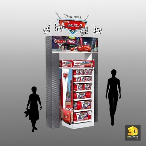 PLV présentoir Disney Cars pour Mattel