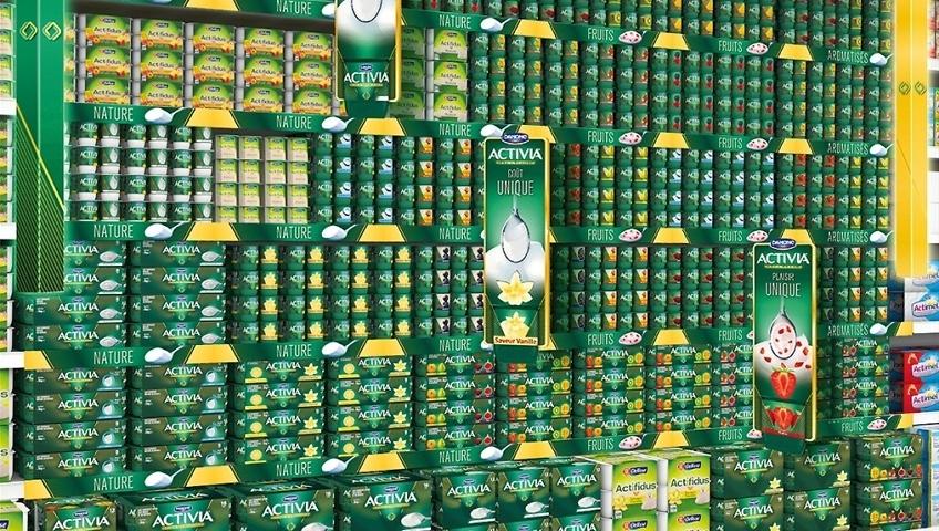 linéaire de supermarchés Activia Danone