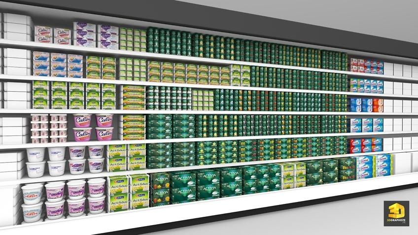 linéaires supermarchés Activia Danone rough 3D