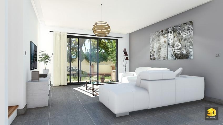 villa Payet - perspective 3D séjour