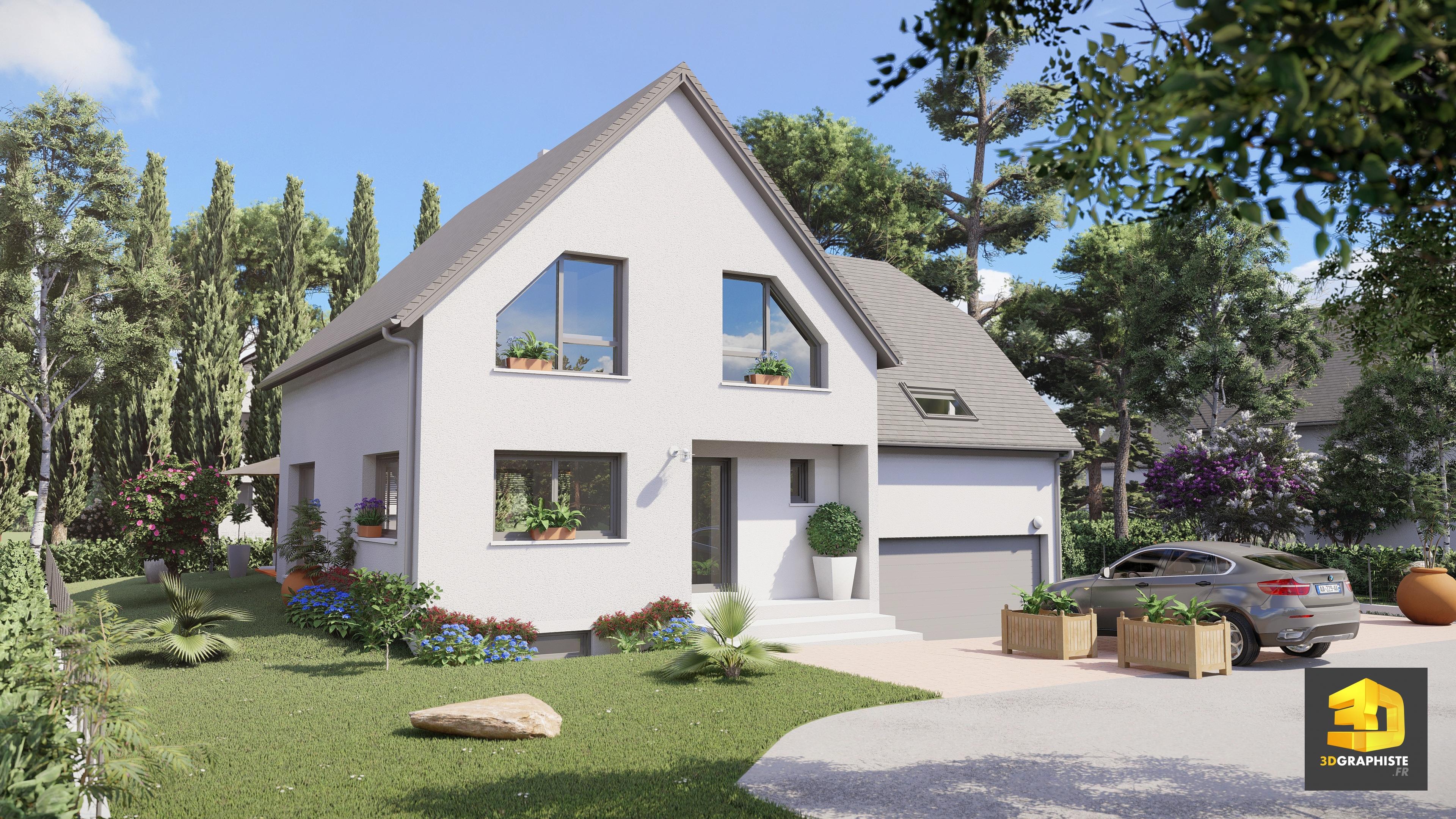 perspective ext rieure illustration 3d pour l 39 architecture 3dgraphiste fr. Black Bedroom Furniture Sets. Home Design Ideas