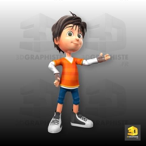 mascotte 3d petit garçon - le grand défi