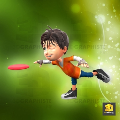 personnage 3d garçon - grand défi - frisbee