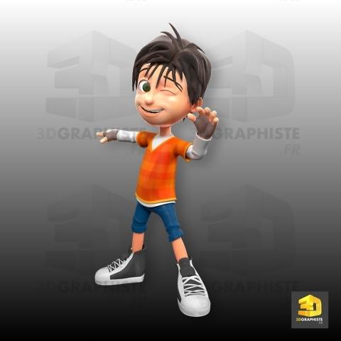 personnage 3d petit garçon - grand défi