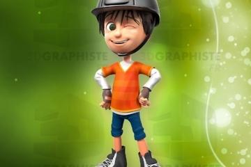 personnage 3d petit garçon - grand défi - jockey