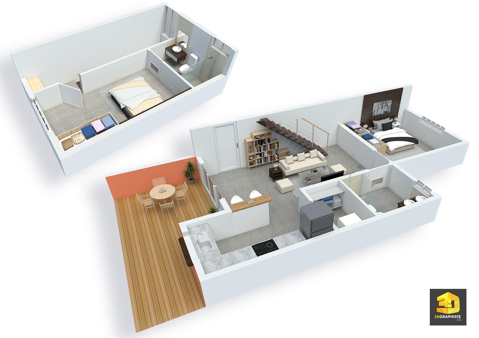 Plan de vente une illustration d 39 architecture 3d - Plan appartement gratuit ...