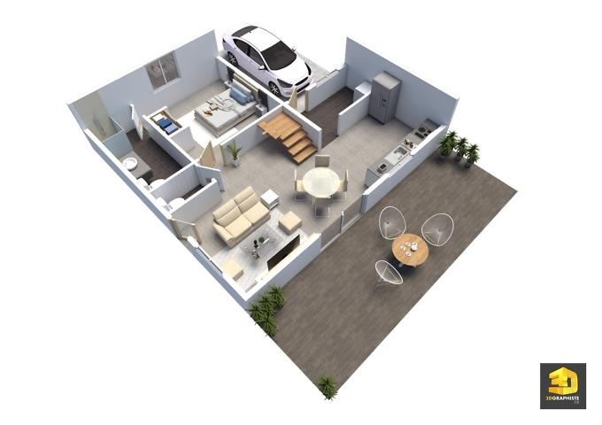 plan de vente 3daxonométrie jardin angelina t4 rdc lot D 148m2