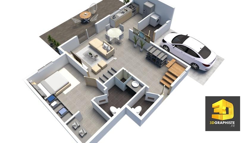 plan de vente 3d - axonométrie jardin d'Angelina t5 rdc