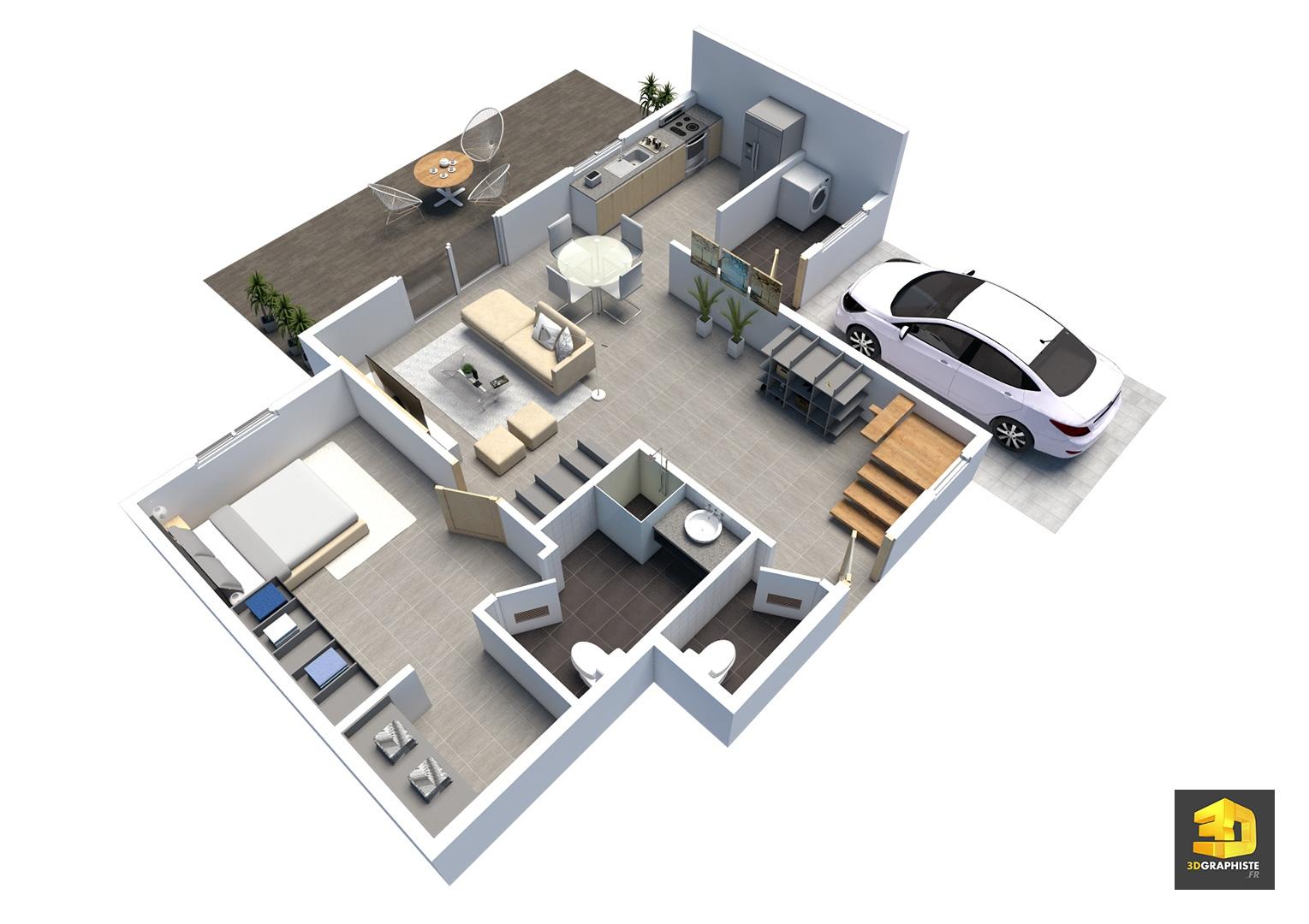 Infographiste architecture cr ation de perspectives et d for Creation plan maison 3d
