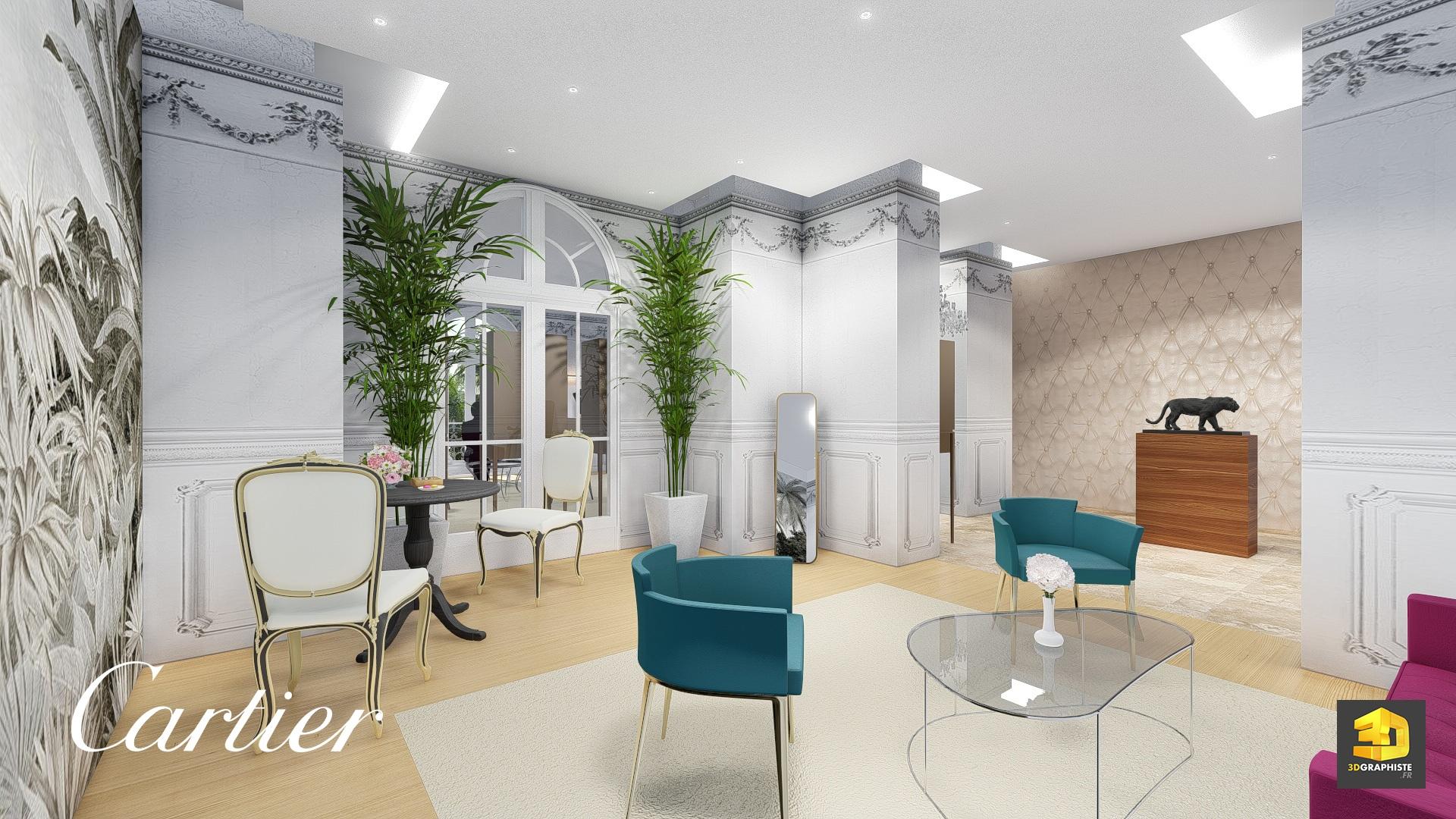 design d int rieur showroom cartier rough 3d 3dgraphiste fr. Black Bedroom Furniture Sets. Home Design Ideas