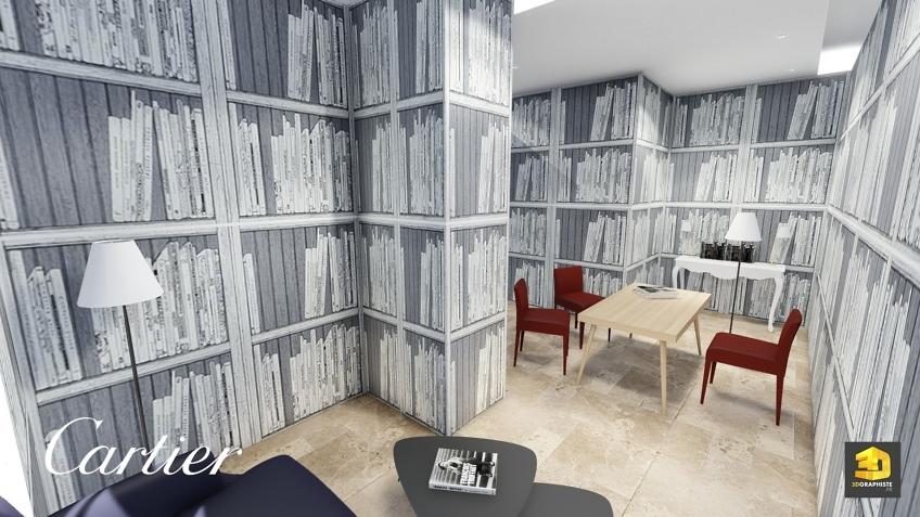 design intérieur - espace masculin - boutique cartier Dubaï
