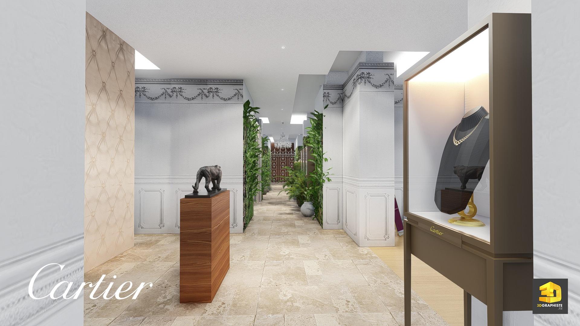 Design d int rieur showroom cartier rough 3d for Boutique decoration interieur